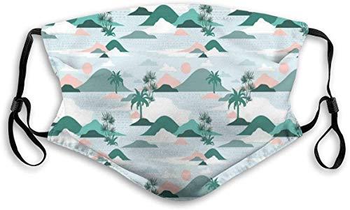 Moda cómoda a prueba de viento, tonos pastel, palmeras y colinas de playa, estilo de corte de papel, decoraciones faciales impresas para unisex M