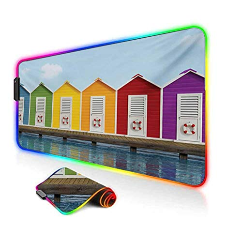 RGB Gaming Mouse Pad Mat,Image of Colorful Beach Cabins on an Old Wooden Pier by Sea Summer Beach House Non-Slip Mousepad Rubber Base,35.6'x15.7',for MacBook,PC,Laptop,Desk Multicolor