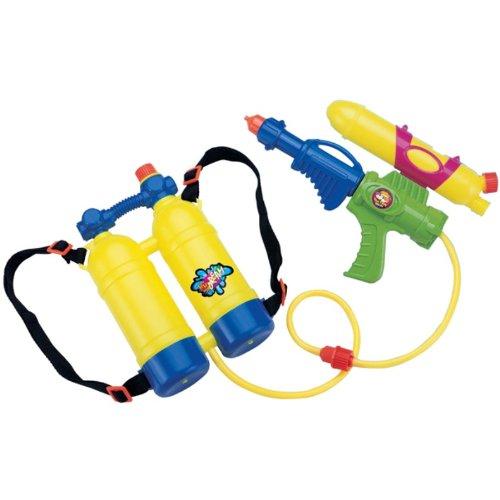 Wasserpistole mit Rucksacktank 2tlg Kunststoff Wasserspielzeug Wasserspritze
