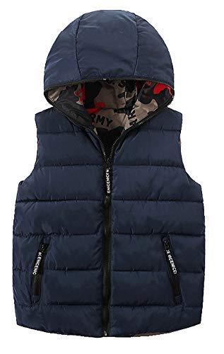 CYSTYLE Kinder Jungen Mädchen Daunenweste ultraleichte Winterjacke Weste Ärmellos mit Doppelseitige Wear (Blau, 160/Körpergröße 140-145cm)