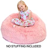 Fluffy Stuffs | Super Soft Furry Stuffed Animal Storage Bean Bag Chair Cover for Kids | Premium Plush Fur | Canvas Handle | Make Bedroom Clutter Comfortable and Fun for Children | Machine Washable