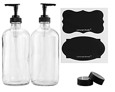 Cornucopia Brands 16-Ounce Clear Glass Bottles w/Pump Dispensers (2-Pack); Refillable Liquid Soap Black Lotion Pump Transparent Boston Round Bottles + Chalk Labels & Lids, BPA-Free Plastic Tops