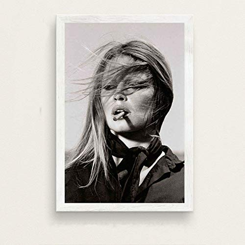 WSJIJY Impresión De La Lona Brigitte Bardot, Modelo De Actriz De Cine, Pintura Artística, Lienzo De Seda, Póster, Decoración del Hogar, como Se Muestra, 60X90Cm Sin Marco
