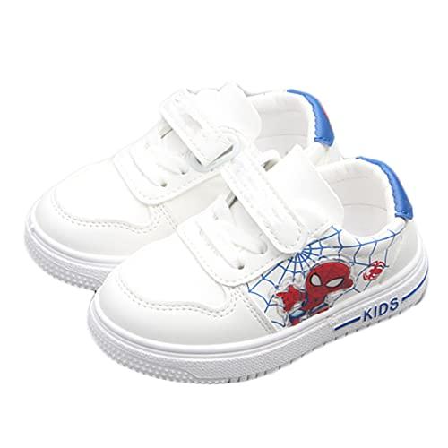 Hflyy Enfants Spiderman Baskets Blanches Garçons Chaussures Marche Mode Légères Respirantes Chaussure Course Athlétique Velcro Chaussures Gymnastique Décontractées,White- 33/Inner Length 19.0cm