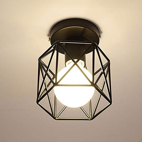 ACECITY Candelabro de hierro de diamante cuadrado, lámpara de techo industrial Lámpara colgante de jaula de alambre vintage creativa industrial Luz de hierro de diamante cuadrado