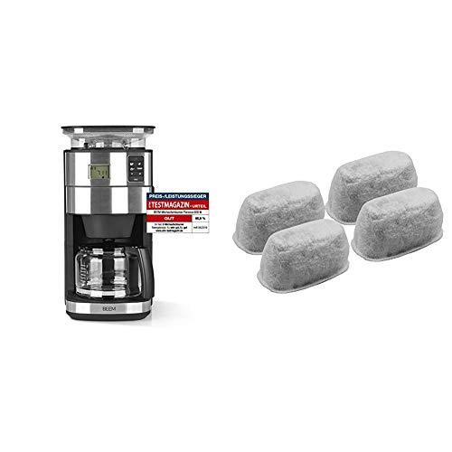 BEEM FRESH-AROMA-PERFECT II Filterkaffeemaschine mit Mahlwerk - Glas | Edelstahl | 1,25 l Glaskanne | 24-Stunden-Timer | 1000 W & 4-teiliges Aktivkohlefilterset, passend für Fresh-Aroma-Perfect V2