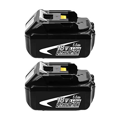 2-Pack 18V 5000mAh Ricambio Batteria per BL1860 BL1860B BL1840 BL1830 BL1820 BL1815 BL1835 BL1845 LXT-400 con Indicatore di Carica per Utensili Elettrici