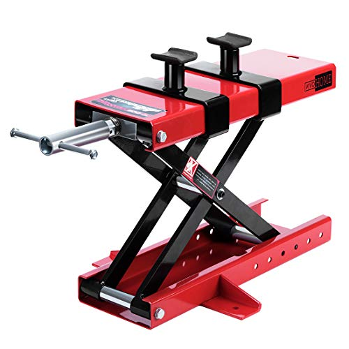 VIVOHOME Steel Motorcycle ATV Scissor Lift Jack Crank Hoist Stand with Saddle and Safety Pins 1100...