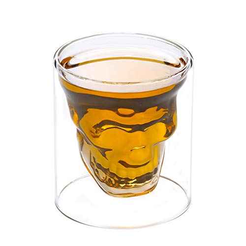 Glaseres Wassergläser Skelett-Spiritus-Becher-Schnaps-Becher Kreativer Stab-Whisky-Becher Wein-Ausrüstungen Europäisches Haushaltsglas Bier, Großer Whisky-Becher 230 Ml