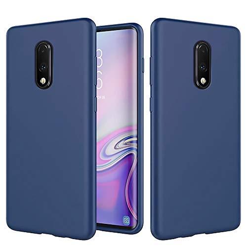AChris Samsung Galaxy J4 Plus Funda Silicona Líquida con Forro Microfibra Carcasa de TPU para Teléfono Móvil Flexible Anti-Choque Ultra-Delgado Case para Samsung J4 Plus J4 Prime J4+, Azul Oscuro