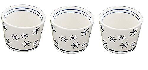 Yamako YAAKO 26963 Lot de 3 Tasses à saké en Porcelaine Motif Flocons de Neige Blanc/Bleu
