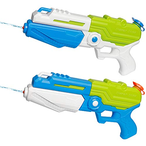 D-FantiX Water Gun 2 Pack, Super Water Blaster Soaker Squirt Guns Bulk High Capacity Summer Beach Pool Party Favors Water Outdoor Fighting Toy for Kids Adults Boy Girl