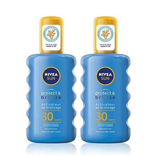 NIVEA SUN Spray solaire activateur de bronzage Protect & Bronze FPS 30 (2 x 200 ml), crème solaire avec protection solaire UVA/UVB pour un hâle naturellement bronzé
