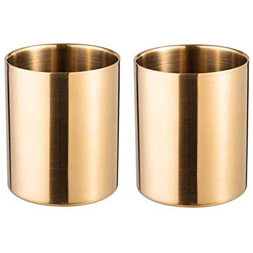 FDSJKD Soporte de Taza de lápiz de 2 Piezas Pincel de Plumas de Maquillaje de Maquillaje Escritorio Efectos de Escritorio Organizador de Acero Inoxidable (Oro) (Color : Gold)