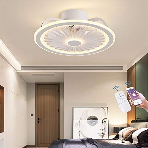 YAOXI - Ventilador de techo LED con luz, mando a distancia silencioso, moderno plafón, ventilador regulable, salón, 40 W, ventilador de techo con iluminación, color blanco