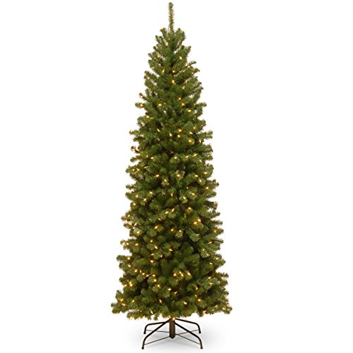 National Tree Company Pre-lit Artificial Christmas Tree | Includes Pre-strung White Lights and Stand | North Valley Spruce Pencil Slim - 7 ft