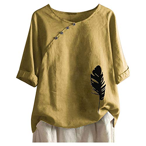 Solid Color Women's Crewneck Short Sleeve Tops Classic Cotton Linen T-Shirt for Women Fashion Feather Print Blause Tee Plus Size Tshirt Tops for Teen Girls Women Summer Gifts Yellow