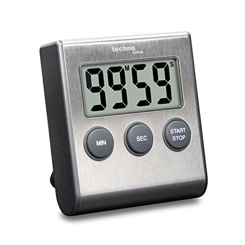 Technoline KT200 - klassischer, digitaler Kurzzeitwecker, Küchenuhr, Eieruhr, hochwertiges Edelstahlgehäuse, silber, 6.4 x 1.8 x 7.0 cm
