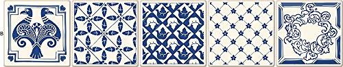 Bohemia Estilo Azul y Beige Franja Azulejos Etiquetas de Pared Cocina Cocina Mesas Decoración para el Hogar Fondos de pantalla Decoración de la pared ( Color : MZ026 B , Size : 15cmX75cmX1pc )
