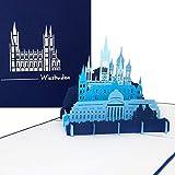 """Pop Up Karte """"Wiesbaden - Panorama mit hessischem Kurhaus, Rathaus, Marktkirche & russisch-orthodoxer Kirche' - 3D Grußkarte als Souvenir, Geburtstagskarte & Gutschein zum Städtetrip"""