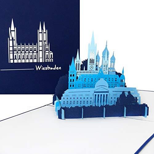 """Pop Up Karte """"Wiesbaden - Panorama mit hessischem Staatstheater, Rathaus, Marktkirche & russisch-orthodoxer Kirche"""
