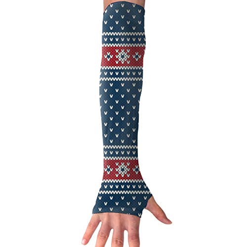 RZM YLY Unisex Nordic Style Christmas Arm Sleeves UV Sun Protective Windproof Tattoo Arm Gloves Long Sleeve Perfect for Football (1 Pair)
