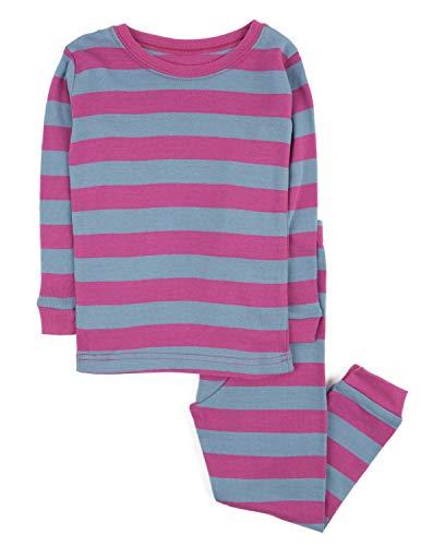 Leveret Striped Kids & Toddler Girls Pajamas 2 Piece Pjs Set 100% Cotton (2 Toddler, Purple & Denim)