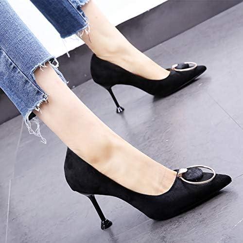 HOESCZS Chaussures de Travail Noires 19 Printemps Nouvelle Boucle en métal tempérament Pointu Talon Aiguille Chaussures Sauvages Sauvages
