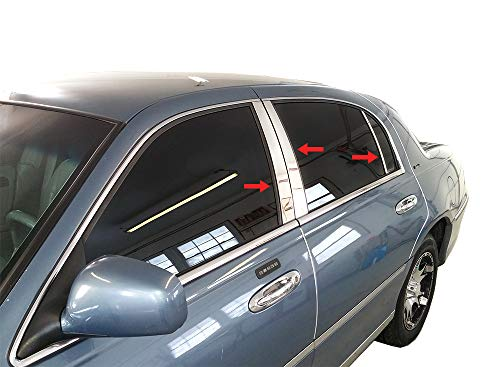 Made in USA! Compatible with 1998-2011 Lincoln Town Car 6PC Stainless Steel Chrome Pillar Post Trim