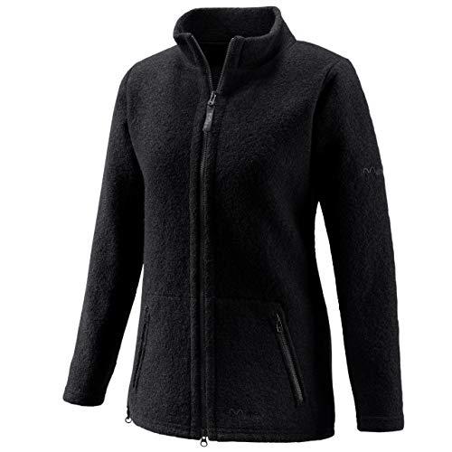 Mufflon Damen Wolljacke Mu- Lou W100 mit Stehkragen Kohle schwarz - M