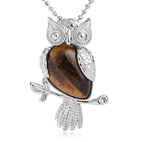Collar de búho para mujeres hombres curación piedras de cristal colgante natural amatista rosa cuarzo piedras preciosas joyas para reiki energía espiritual afortunado ( Metal color : Tiger Eye )