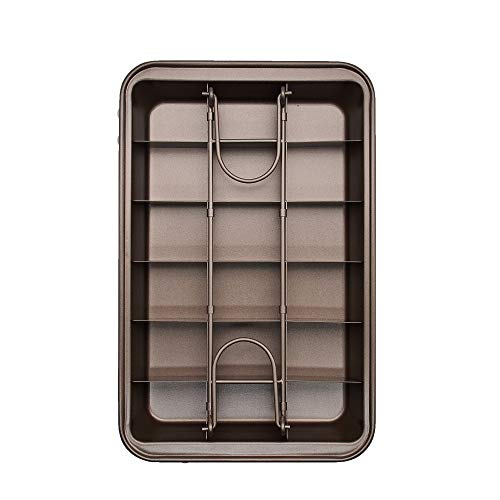 Lacusmall Brownie Pan, Non Stick Brownie Pans With Dividers, Brownie Baking Tray, Carbon Steel Bakeware for Oven Baking,18-Cavity and 12 by 8 inches