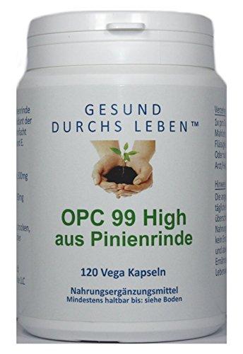 Gesund durchs Leben OPC 99 High aus Pinienrinde 300mg, 120 vegane Kapseln, hochdosiert Glutenfrei, 65 g