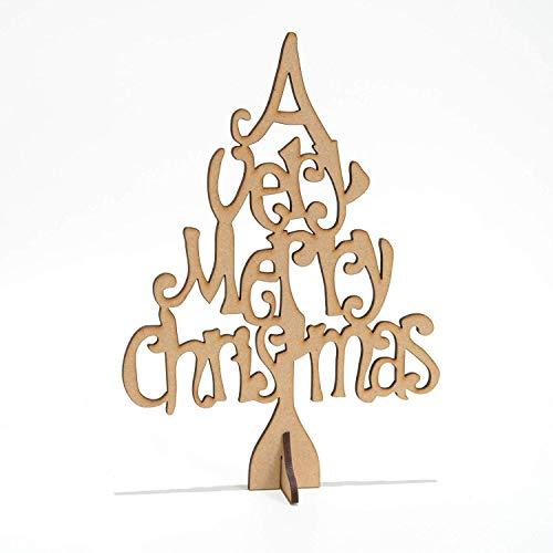 In Piedi Merry Albero di Natale per Hobby, MDF, in Legno, Vuoto, Regalo, Artigianato, Decorazione 200mm Alto (20cm)