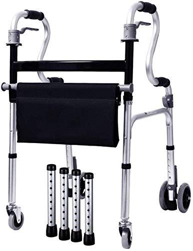 FEE-ZC Algemeen Doel Multifunctionele Lichtgewicht 5.4kg Opvouwbare Adult Seniors Rollator Walking Fram Aid 4 Wiel |Aluminium | Met Zitting, Afsluitbaar Beugel | Verstelbare Hoogte 86-93cm | Max belasting 180kg