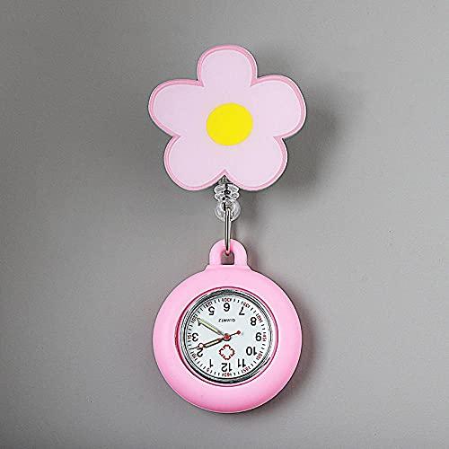 YYMY Reloj Enfermera con,Cofre de Enfermera Lindo con luz Nocturna, atención médica telescópica Impermeable-Rosa 1