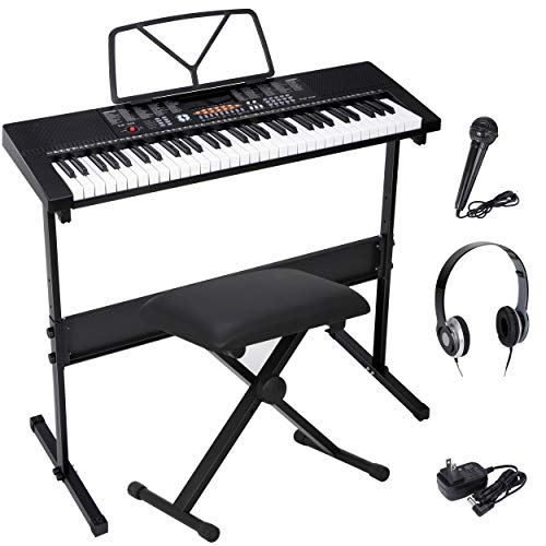 Saturnpower 61-Key Portable Electronic Keyboard Piano with Built In Speakers, Headphones, Microphone, Dual Power Supply, Piano Stand, Music Sheet Stand and Stool for Beginner (Kid & Adult) Black