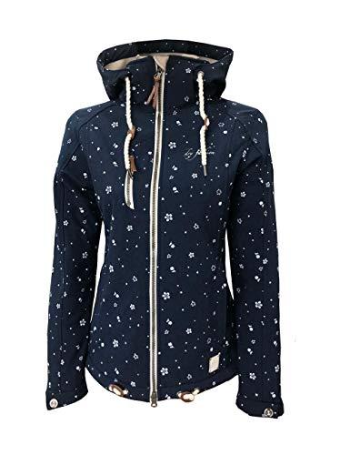 Dry Fashion Damen Softshelljacke Niebüll Print Funktionsjacke meliert, Größe:52, Farbe:dunkelblau meliert