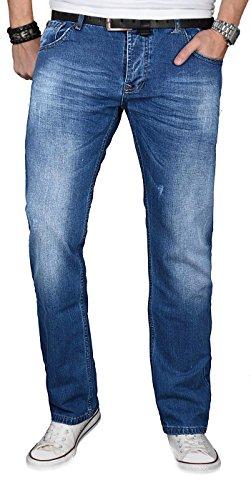 A. Salvarini Designer Herren Jeans Hose Jeanshose Regular Comfort gerades Bein, Mittelblau, 36W / 32L
