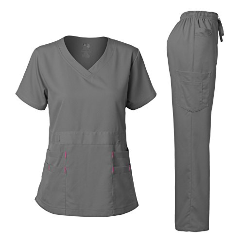 Dagacci Medical Uniform Women's Scrubs Set Stretch Ultra Soft Top and Pants (M, Petwer Gray)