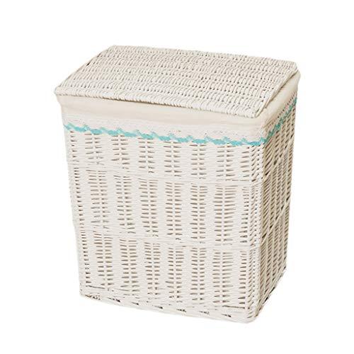 Canasta de Mimbre Cubierta Cesta Caja de Almacenamiento Ropa de Mimbre Sucia Baño en casa Dormitorio Blanco 2 Tamaño XMJ (Size : 44 * 32 * 48cm)