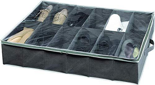 Compactor Bolsa de almacenamiento de zapatos, Gama Dora, Color gris, Tamaño 76 x 60 x15 cm, Capacidad para 12 pares, Ventana transparente, RAN4481_C