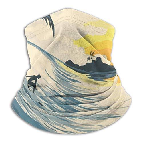 Pintura Sunset Wave Y Surfer Cuello Calentador De Cuello Polaina Para Hombres Mujeres Mascarilla Escudo Para Al Aire Libre Invierno Bufanda De Lana