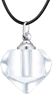 Cremation Jewelry for Ashes Urn Necklace Stainless Steel Diamond-Shaped Glass Cremation Keepsakes Jewelry for Ashes Memori...