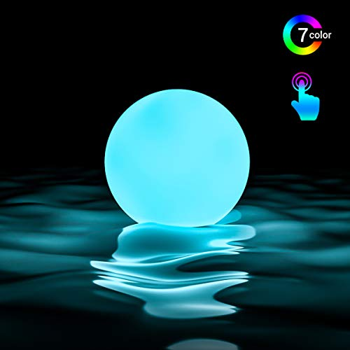 LOFTEK LED Floating Pool Light Ball, 3-inch 7 RGB Colors Dimming Glowing Ball, Waterproof Bathtub Orb Light, Replaceable Coin Cell Operated Toy for Kids, Family Activities, Nursery or Decor