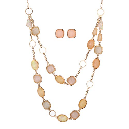 Jones New York Gold Baby Pink Peach Oblong Gemstones Necklace and Earrings Set