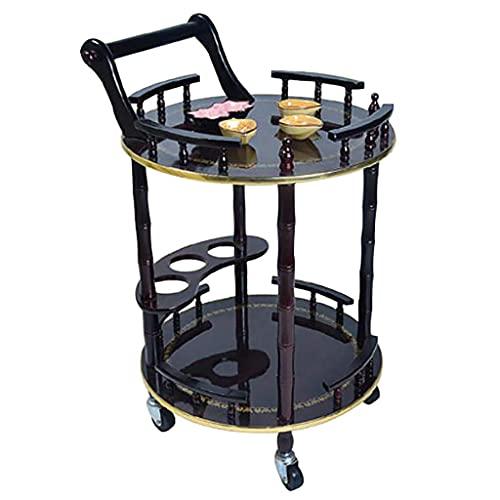 COLiJOL Barra de madera maciza con ruedas, para cocina, comedor, alquitrán con soporte para botellas y barandilla, color negro, redonda.