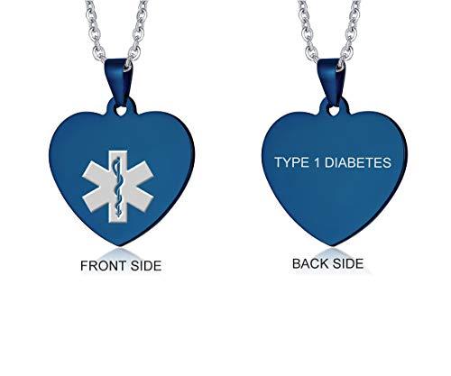 VNOX Medical Jewelry Blue Stainless Steel Heart Shape Type 1 Diabetes Alert ID Pendant Necklace for Men Women