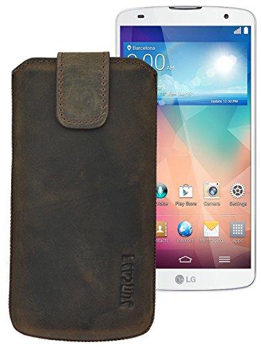Suncase ECHT-LEDER Tasche Etui für LG G Flex / LG G Pro 2 (mit Rückzugsfunktion, Magnetverschluss) antik-dunkel braun