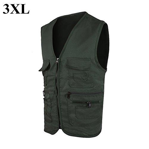 Herren Outdoor Jacke, Komfort Sportswear mit Mehreren Taschen zum Wandern Angeln Camping Jagen(XXXL-军绿)